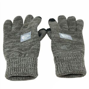 The North Face Mens Black Etip Salty Dog Suede Gloves S/M Gray Knit Tech Suede