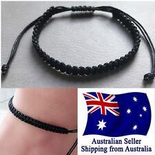 Adjust BOHO Men Women Braided Black Cord Hemp Bracelet Anklet Wristband Surfer