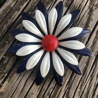 Vintage Red White Blue Enamel Flower Brooch Metal Mod Floral Pin 50s 60s Large