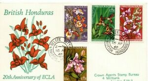 A LOVELY 1968 FDC FROM BRITISH HONDURAS. 20TH ANNIVERSARY OF ECLA, FLOWERS