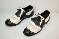 Vintage Wingtip Golf Shoes Metal Spike Faux Croc Alligator Mens 10 Black White