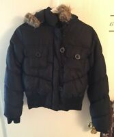 WOMEN'S BLACK MEDIUM WEIGHT WINTER JACKET WITH HOOD 50% Down 50% Feather
