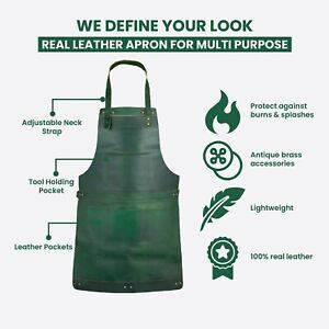 Green Real Leather Apron Butcher Apron - Cook Apron - BBQ Apron - Cooking Apron