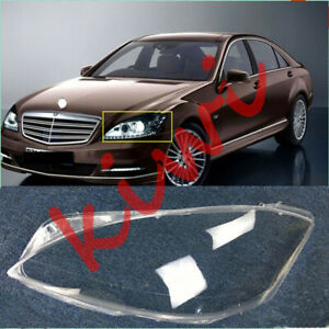 1*For Mercedes-Benz W221 S 2008-2012 Left Headlight Cover transparent pc+Glue