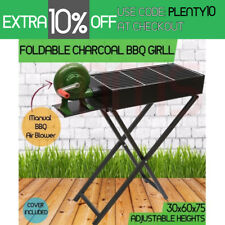 Large Portable Foldable Charcoal Wood BBQ Grill Camping Picnic Air Blower 60cm