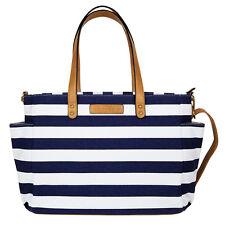 The Aquila Tote Bag by White Elm | Navy Blue Stripe | Diaper Bag | Laptop Bag