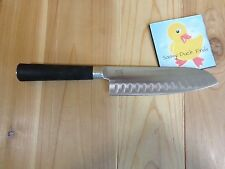 """SANTOKU 7"""" CHEFS KNIFE Black Rubber Grip Handle Stainless Good Cook"""