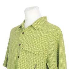 ExOfficio Vented Short Sleeve Green Check Fishing Hiking Shirt Mens Medium