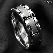 8mm Men's Tungsten Carbide Ring Silver Wedding Band Brick Pattern Size 6-13 ATOP