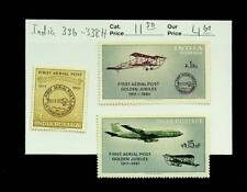 INDIA 1961 FIRST AERIAL POST GOLDEN JUBILEE 3v FINE MINT STAMPS #336-38 CV $11.5