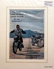 Original Vintage Advert mounted ready to frame motor bike Harley Davidson 1968