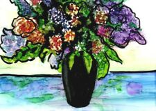 ACEO Garden Bouquet Black Vase Expressionist Alcohol Ink Painting Penny StewArt