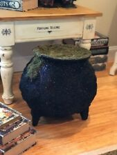 Broomstick Giant Glitter & Moss Witch's Paper Mache Cauldron Halloween Prop NWT