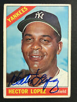 Hector Lopez Yankees signed 1966 Topps baseball card #177 Auto Autograph 2