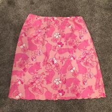 Vintage Lilly Pulitzer Skirt Womens Size 8 Pink Cats And Flowers Scalloped Hem