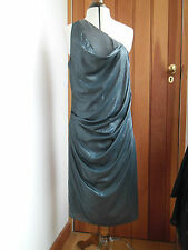 ALL SAINTS RIALTO DRESS GRANITE GREY COWL ROUCHED CONTRAST UK 12 NEW