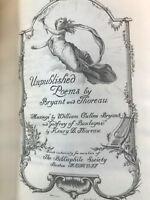 Thoreau and Bryant Unpublished Poems BIBLIOPHILE SOCIETY limited edition 1907