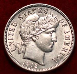 Uncirculated 1913 Philadelphia Mint Silver Barber Dime