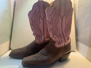 Womens Justin L2667 Punchy Western Cowgirl Boots Saddle Leather Pink Size 8 B