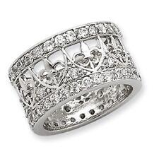 Sterling Silver & Pave CZ Filigree Fleur de Lis Cigar Band Wide Ring........NEW