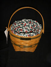 Longaberger 1994 Christmas Collection Jingle Bell Basket/Holly Liner & Protector