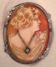 Necklace Sterling Pin Brooch Hand Carved Cameo with Diamond
