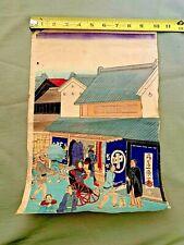 "Japanese Woodblock Print Ukiyo-e Ikkei Nihonbashi Triptych Street Scene 10 x 14"""