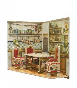Room box for doll 11x11x10cm cardboard dollhouse kit kitchen room