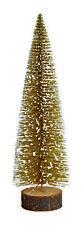 Weihnachtsbaum Mini künstlich Gold 25cm auf Baumstamm mit Glitter aus Kunststoff
