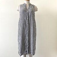 Gap Button Down Shirt Dress XS Stripes Black White 55%linen Sleeveless Hi Low