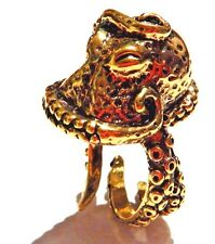 GOLD 3D OCTOPUS ADJUSTABLE RING Lovecraft Cthulhu tentacles steampunk beach 2W