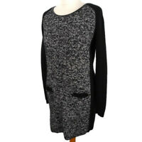 M&S Size 12 Black Grey Silver Jumper Dress Long Sleeve Pockets Wool Blend