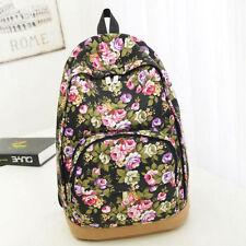 Women Floral Canvas Travel Satchel Shoulder Bag Backpack Back to School Rucksack