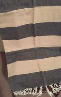 Charcoal Grey Cream Turkish Towel Throw Rug Blanket 100% Cotton 94x172cm