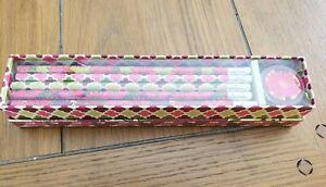 New Vera Bradley PENCIL BOX SET in HELLO DAHLIA 10 pencils,sharpener,box