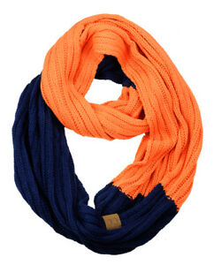 NEW! CC Scarf Unisex College Team Color 2-Tone Winter Knit Infinity Scarf