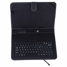 """Universal 10"""" tablet folding leather folio case cover stand w/keyboard black"""