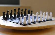 "3.6"" Herman Ohme Minimalist Chess Pieces set Weighted Ebonized W/Rosewood Walnut"