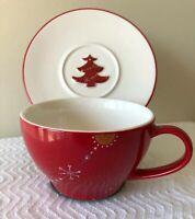Starbucks Holiday 2006 Coffee Cup & Saucer - RED - 12 Oz - Christmas Tree