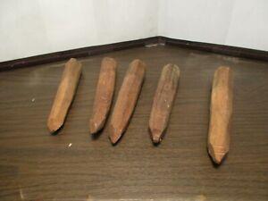 5 Antique Wooden Hand Carved Nails - Spikes - Oak Hardwood - Barn Building