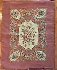 Rare Vintage Lucie Newman Needlepoint Tapestry Wall Hanging w/Rose Flower Decor
