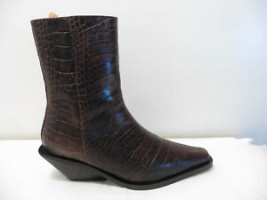 Anthropologie Dark Brown Croc Effect Leather Western Style Ankle Boots £245 UK 4