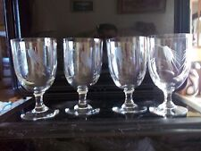 SASAKI NORITAKE  CRYSTAL ETCHED WHEAT WATER WINE GLASSES GOBLETS  (4)