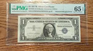 Fr. 1621 Mismatch Serial Number ERROR 1957B $1 Silver Certificate PCGS 65GU EPQ