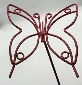 Wrought Iron Red Garden Butterfly Outdoor Metal Yard Art Decor Lawn Ornament USA