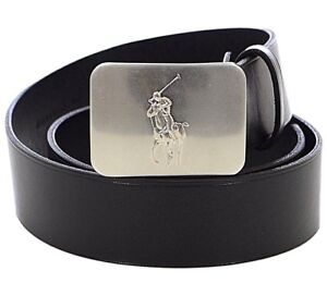 Mens $75. (38) POLO-RALPH LAUREN Black Leather BIG PONY Plaque Belt (EUR 95)
