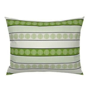 Kiwi Color Dots And Circles Lines Green Black Texture Pillow Sham by Roostery