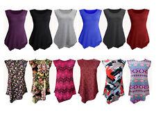 Womens Ladies Plus Size Tops Binding  Sleeveless Round Neck Tunic Diamond Style