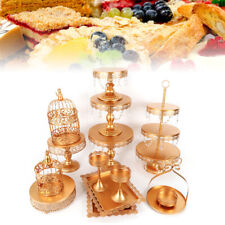 New 14pcs Crystal Gold Metal Cake Holder Party Cupcake Stand Wedding Plates Set