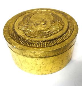 "Decorative Gold Cardboard Gift Box with Angel or Cherub on Top 8"" x 3.5"""